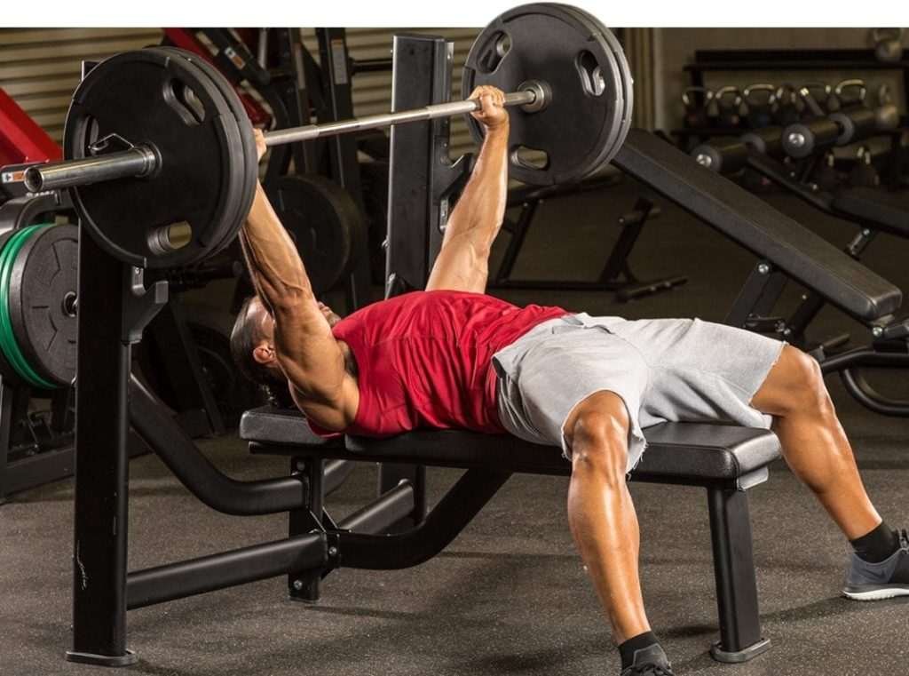 Bench press lying on a bench